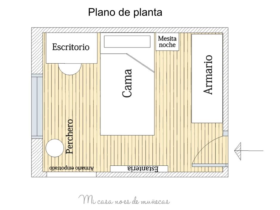 Dormitorio juvenil piso indautxu bilbao proyecto l mi for Plano habitacion online