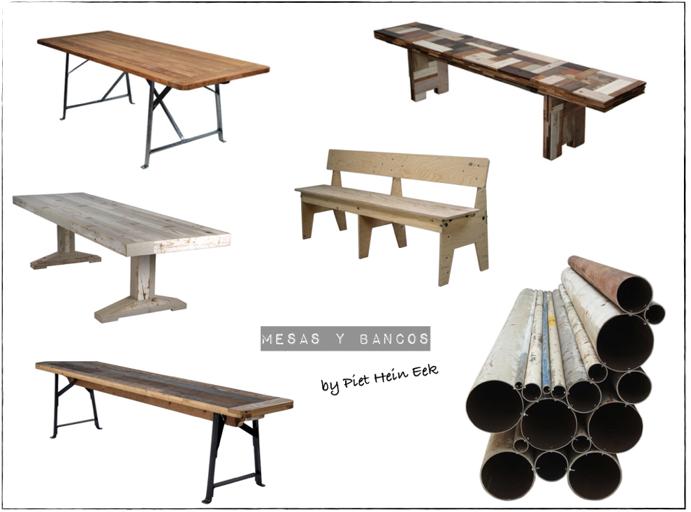 Piet Hein Eek-bancos y mesas