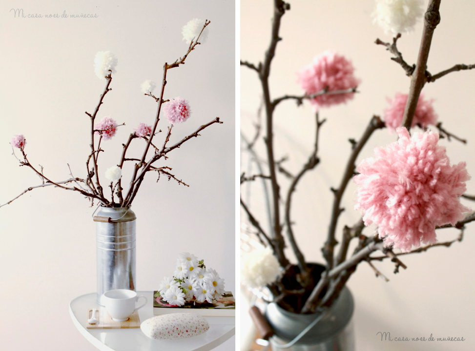 Arbol de ramas y pompones mix