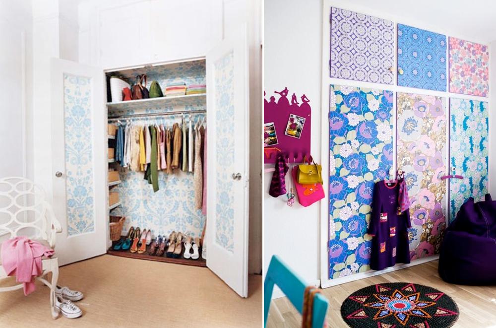 Decorar las puertas de armarios selecci n de papeles - Como forrar las puertas de un armario ...