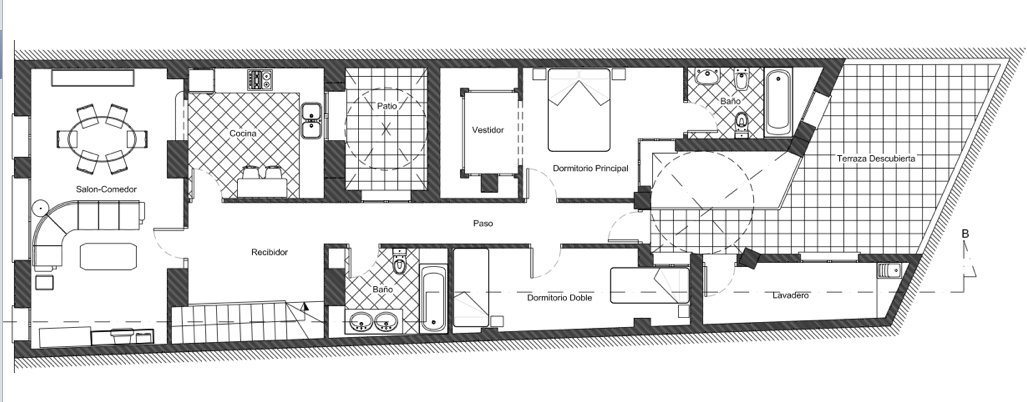 Distribuci n vivienda pedreguer alicante proyecto xl for Casas alargadas