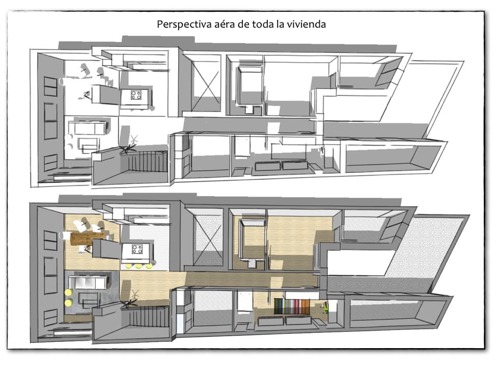 Proyecto de asesor a distribuci n de una vivienda - Distribucion casa alargada ...