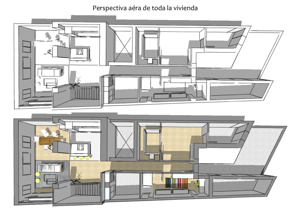 Distribuci n vivienda pedreguer alicante proyecto xl for Distribucion cocina alargada