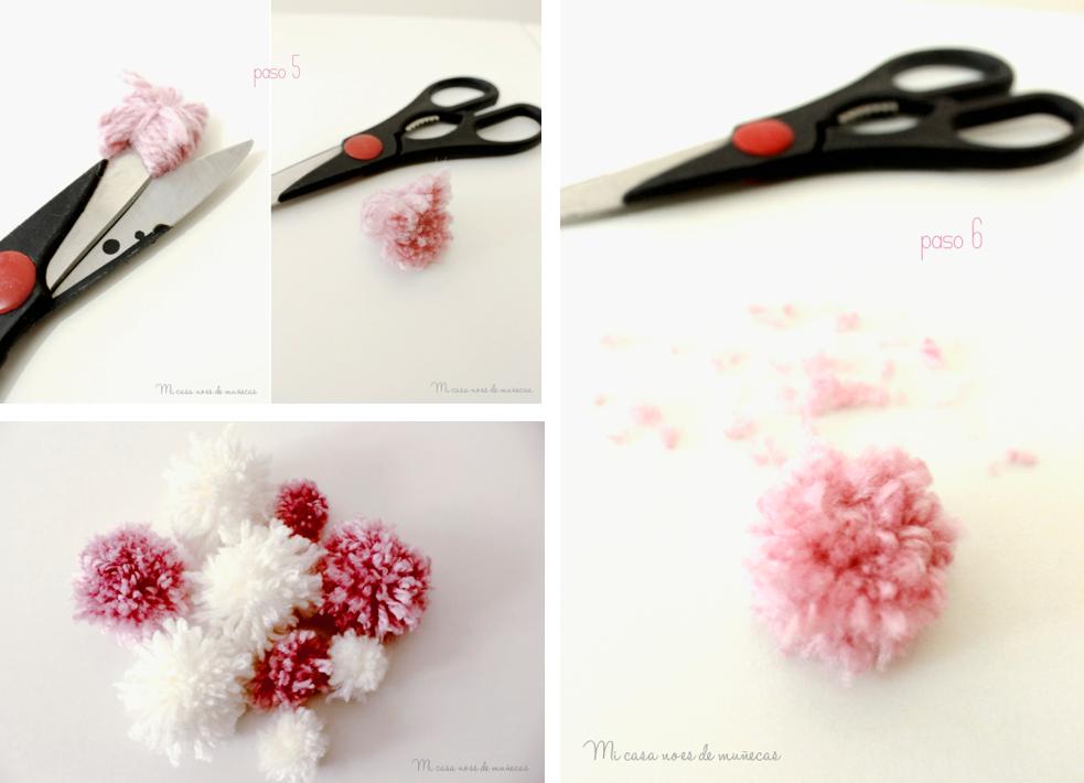 Arbol de ramas y pompones - tutorial 2