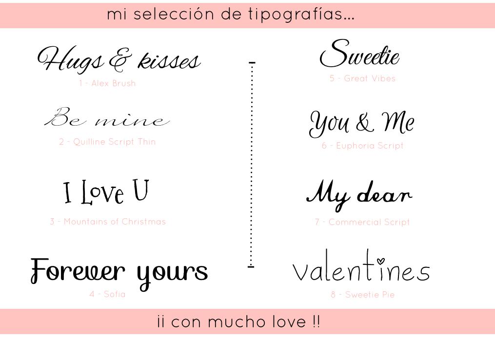 Tipografias para San Valentin