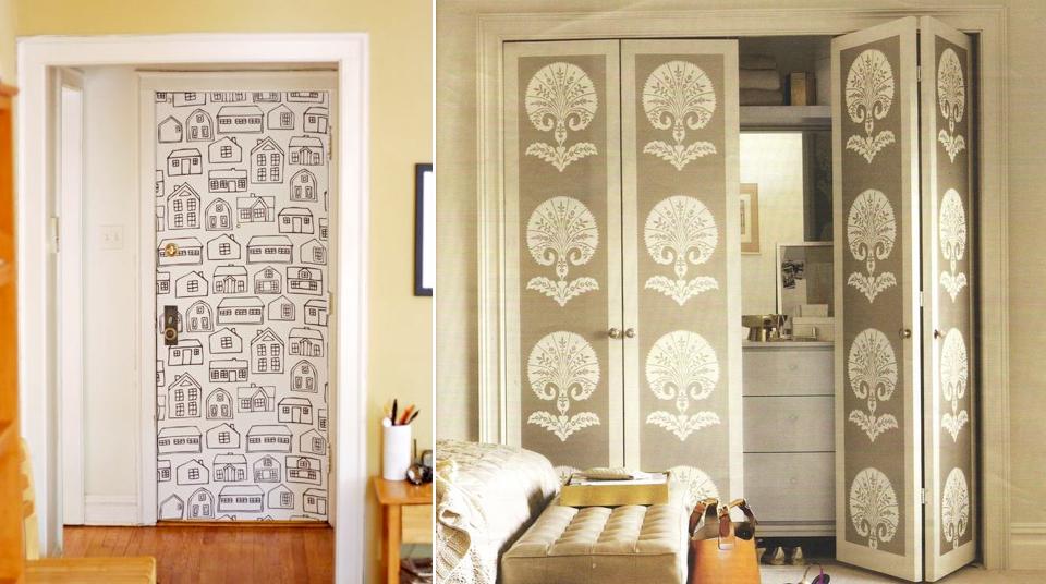 Decorar las puertas de armarios selecci n de papeles - Decoracion con papel pintado y pintura ...