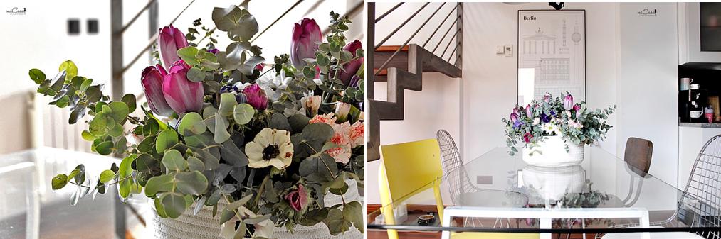 Centro mesa flores en casa 13
