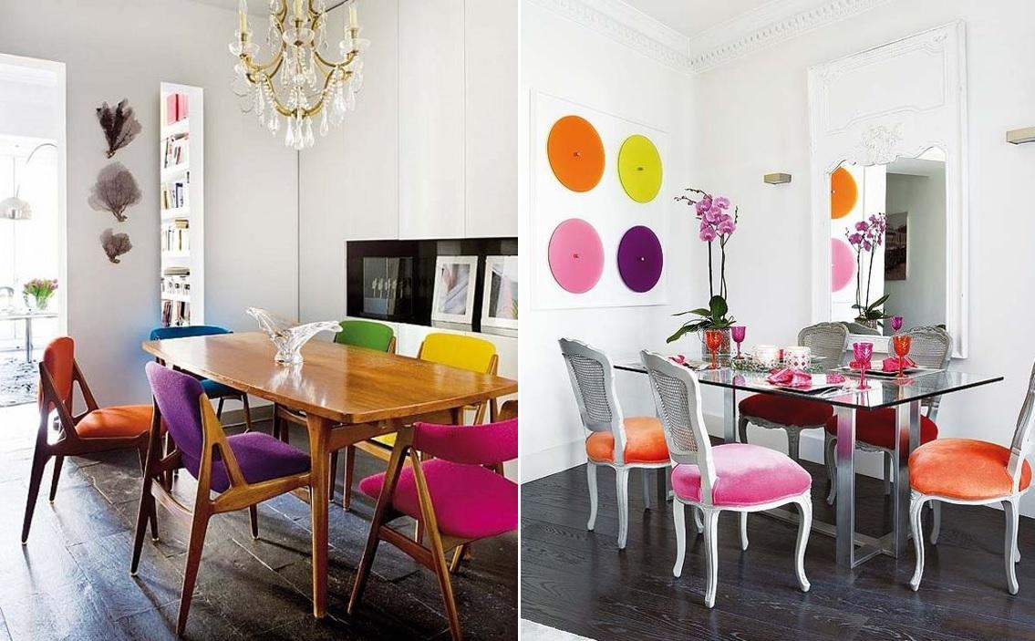 Sillas tapizadas de colores tendencia de verano mi casa - Tapizado de sillas de comedor ...