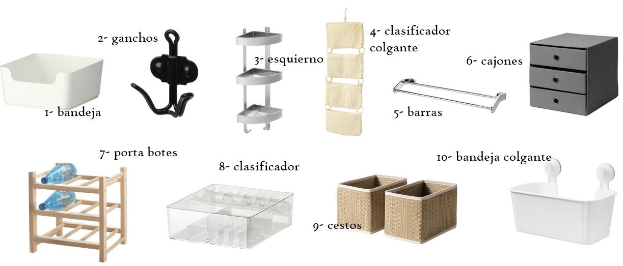 Utensilios almacenaje y orden