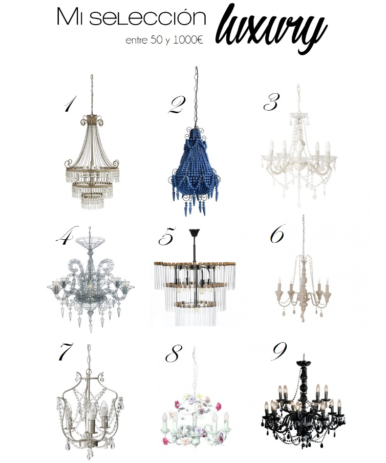 Seleccion lamparas de araña o chandeliers